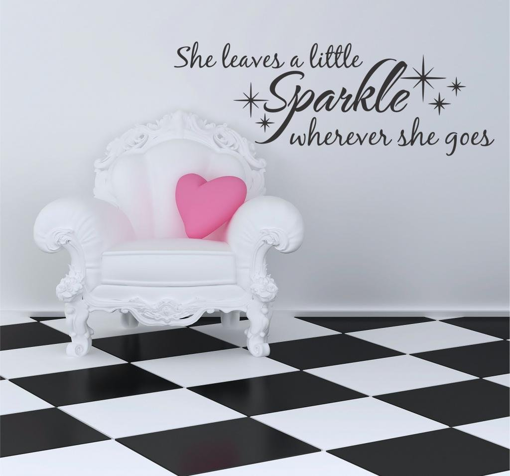 Amazon she leaves a little sparkle vinyl wall decal 28 w by amazon she leaves a little sparkle vinyl wall decal 28 w by 10 h choose from over 21 color choices star decal nursery baby decor wall decor plus amipublicfo Images