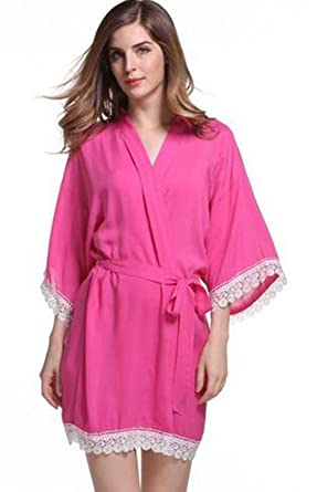 45c3eb6ded New Solid Cotton Kimono Robes with Lace Trim Women Wedding Bridal Robe  Short Belt Bathrobe Sleepwear at Amazon Women s Clothing store
