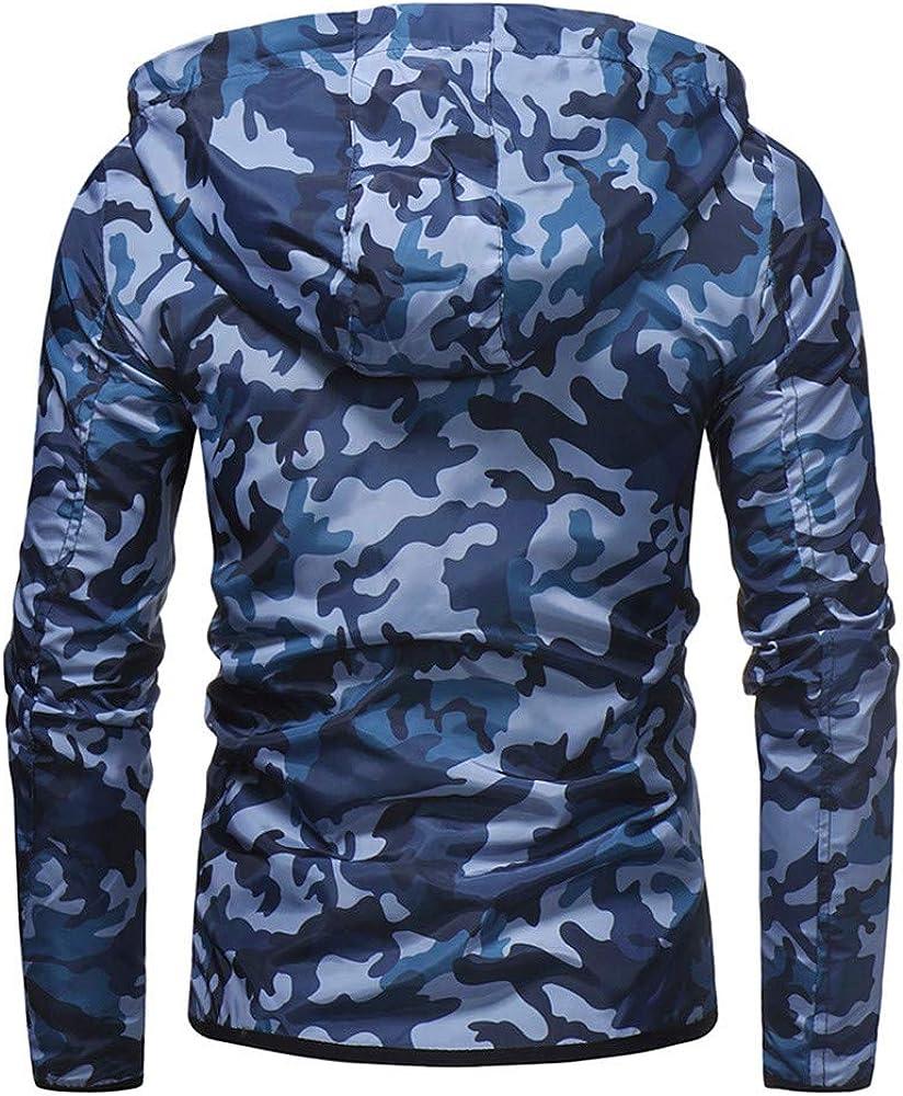 UEVOS Mantel M/änner Casual Camouflage Zip Jacke Slim Coat Herren Herbst Winter Warm Lose Tasche Langarm Hoodies Jacke Mantel M-2XL