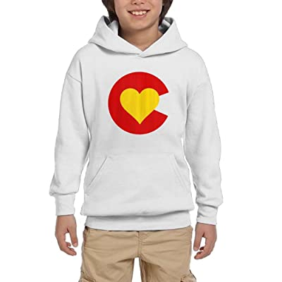 Love Heart Colorado Flag Youth Pullover Hoodies Athletic Pockets Sweaters