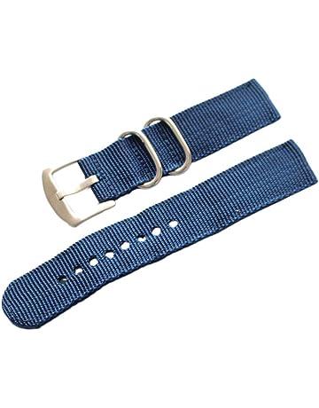 George Jimmy Mode Uhrenarmb/änder Uhrenarmband Leder wasserdichte Uhr-Kette 20 MM Schwarz