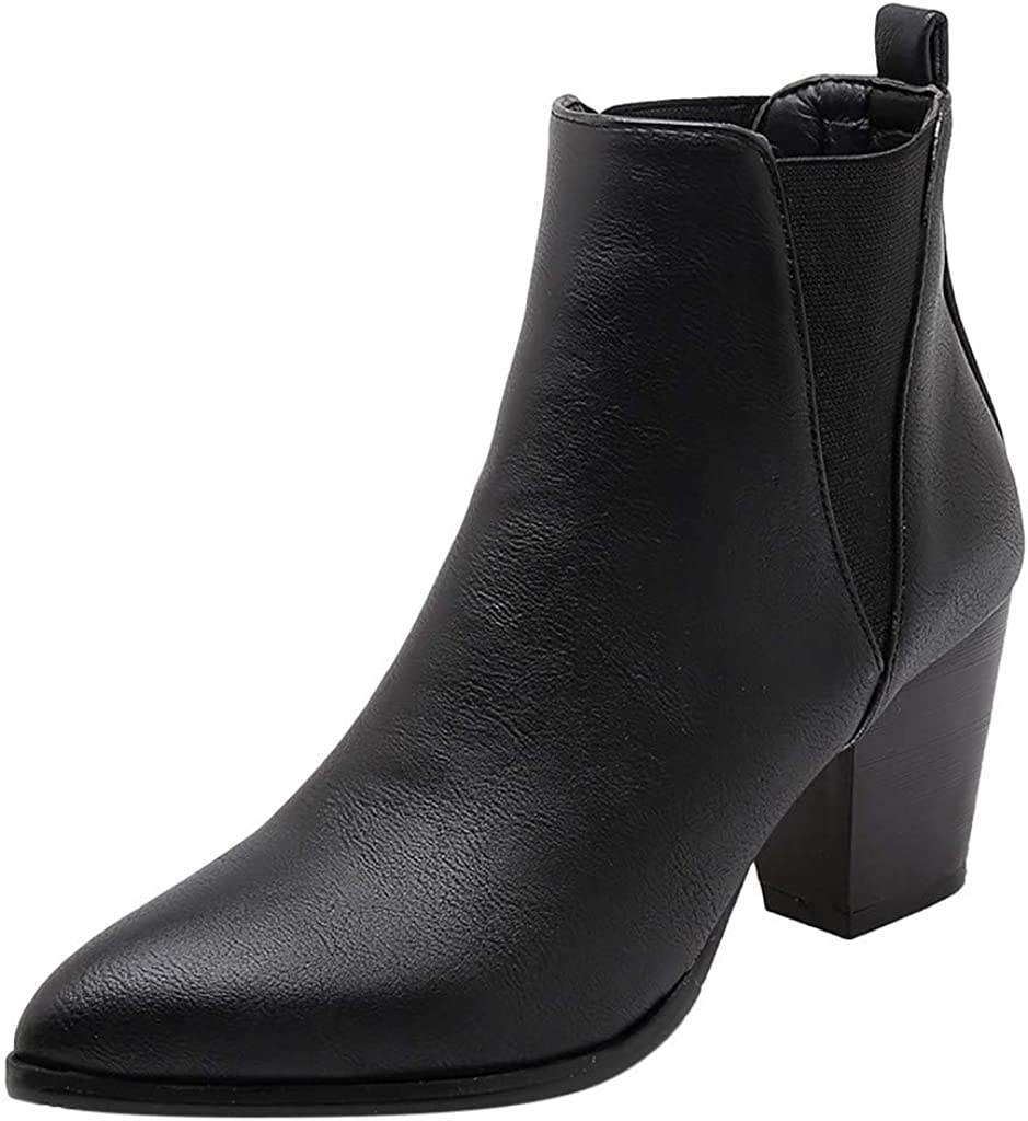 Whitegeese Women Retro Thick High Heel Zipper Single Boot Student Large Size Ankle Boots