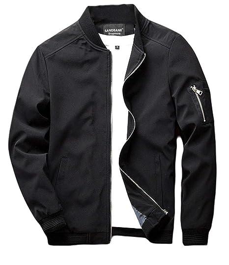 480c25dd9 sandbank Men's Slim Fit Lightweight Softshell Flight Bomber Jacket Coat