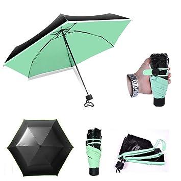 bravetzx Mini Paraguas de Tamaño de Bolsillo, Plegable Ultra-luz Paraguas Anti-UV