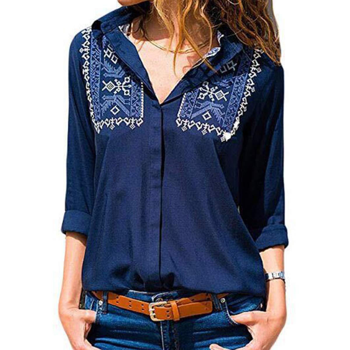 bluee Flextiicinax Floral Print Lapel Shirt Button Down Long Sleeve Elegant Women's Blouse