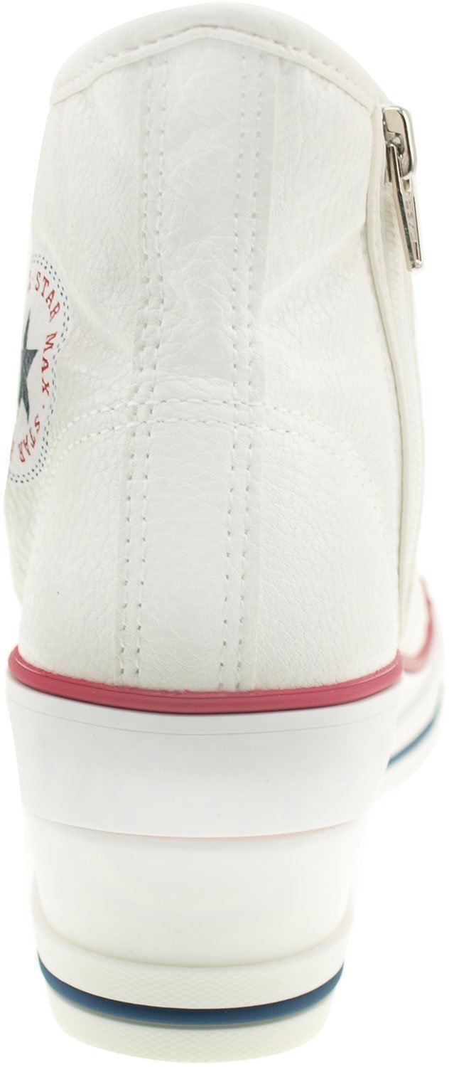 Maxstar Women's 7H Zipper Low Wedge Heel Sneakers B01G54BGHU 8.5 B(M) US|Pu-white