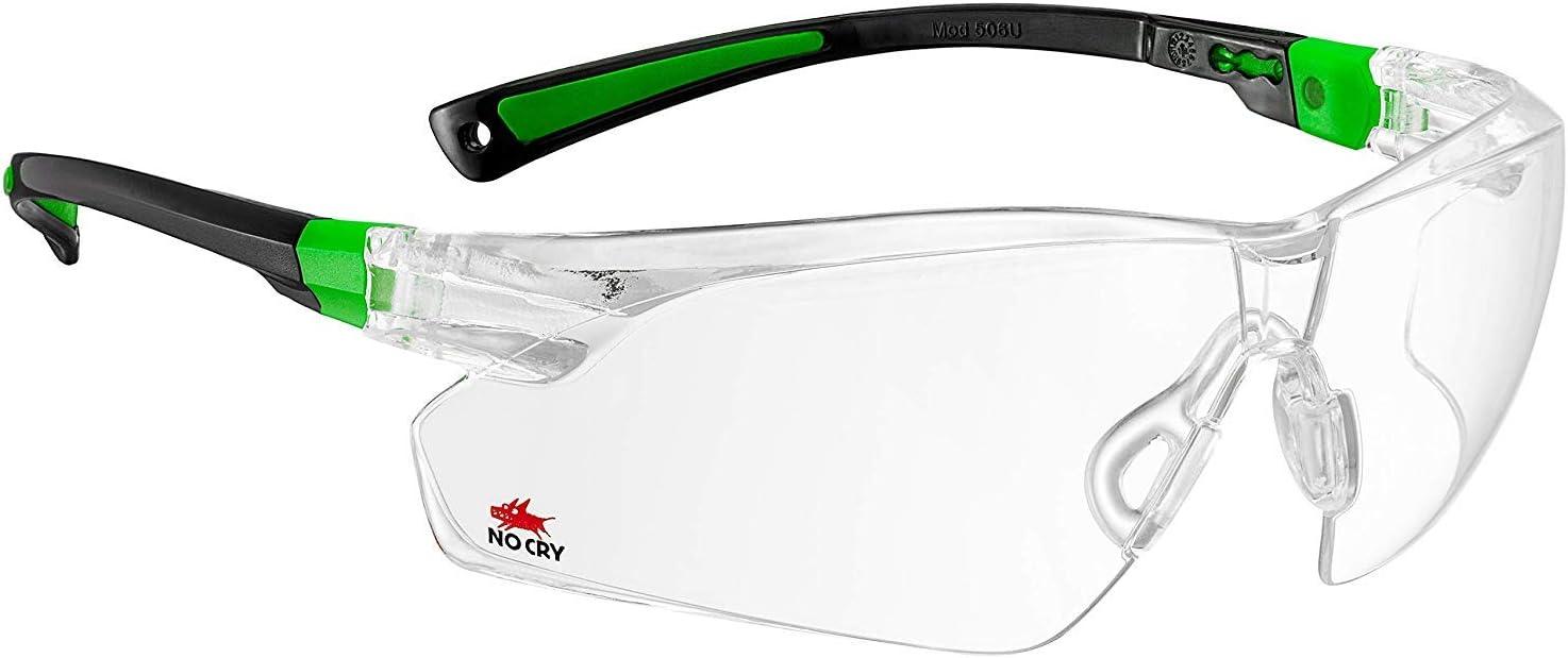 Nocry - gafas de seguridad con lente transparente antiniebla y antiarañazos envolvente y patillas antideslizante, protección UV400., 506UG