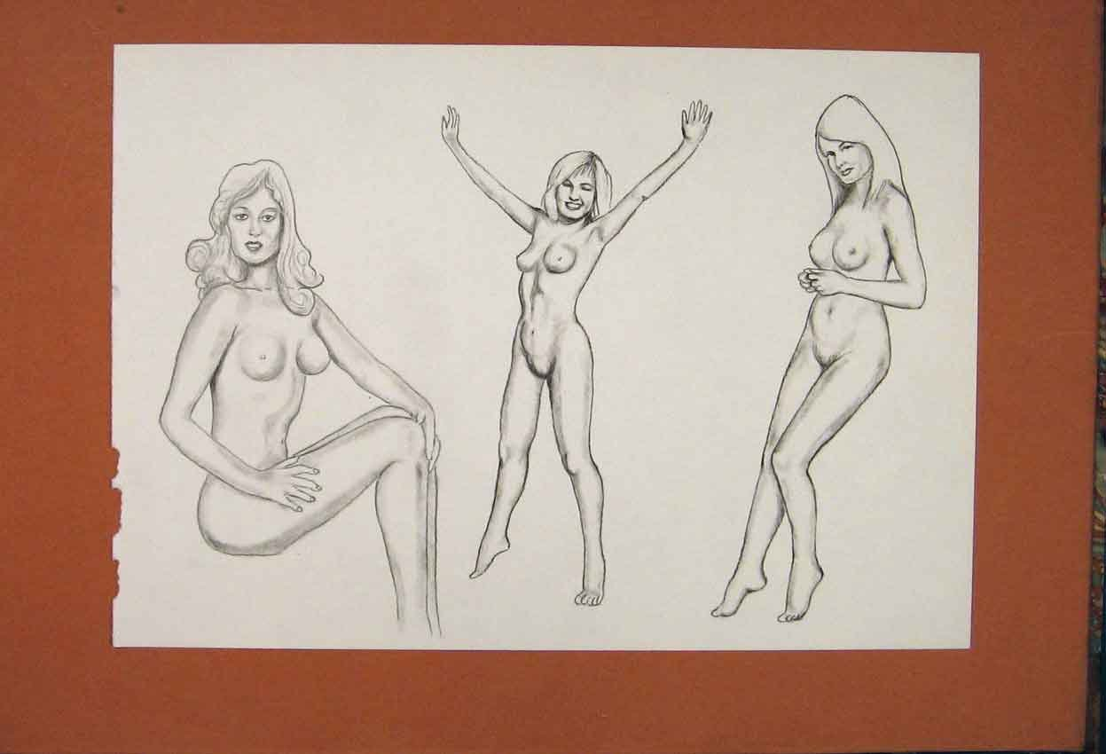 Three Naked Ladies Posing Sketch Pencil Drawing Old Art: Amazon.co.uk:  Kitchen & Home