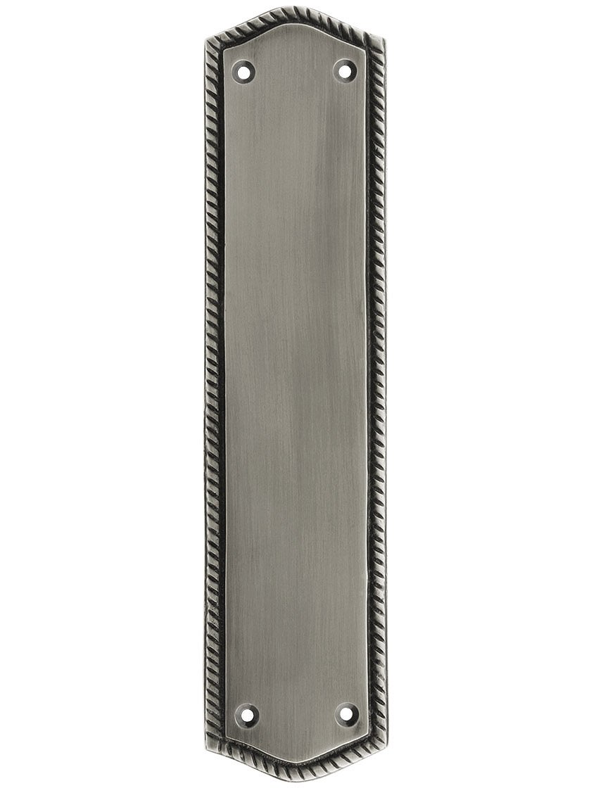 10 1/2'' Rope Push Plate in Antique Pewter