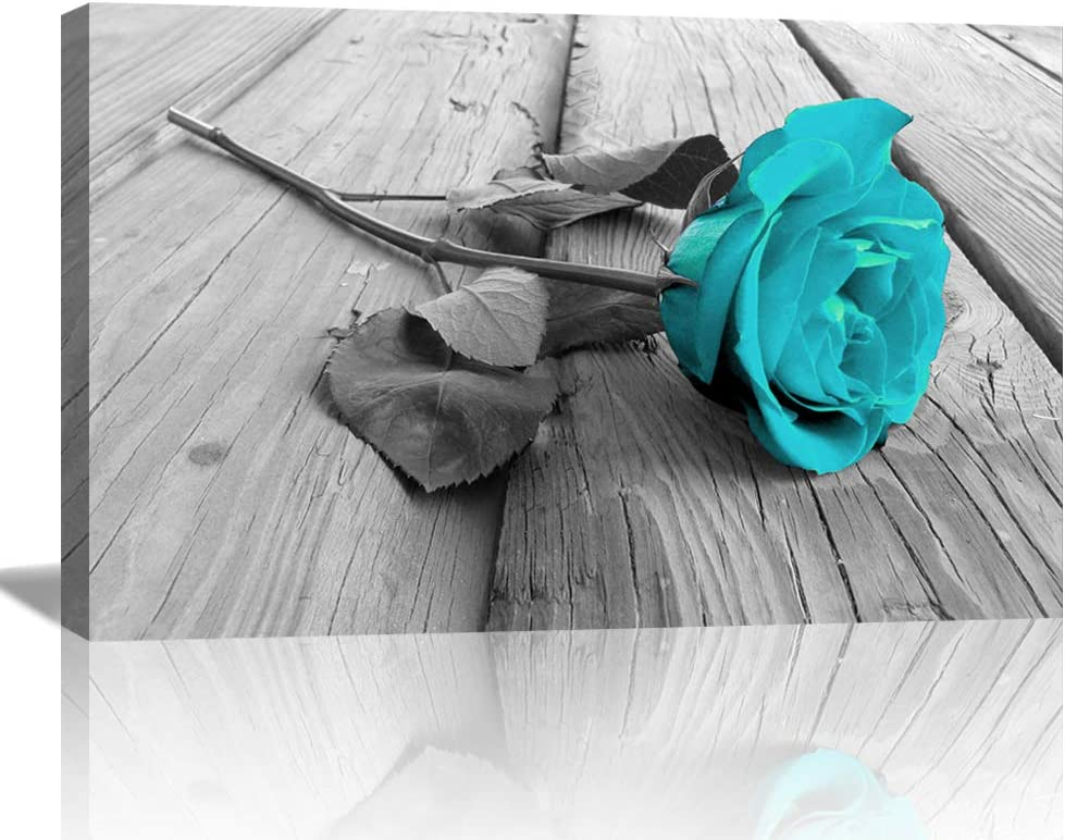 Large Teal Flower Wall Art Teal Rose Floral Modern Canvas Paintings Pictures on Grey Split Wooden Floor Flower Prints Paintings Turquoise Artwork Home Decor for Living Room Bathroom (24inchx36inch, ZLA1Artwork 1)