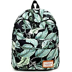 OK24 Nature Green Leaf Pattern Casual Daypack School Student Backpack Unisex