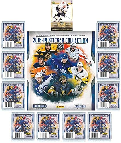 (2018/19 Panini NHL Hockey Stickers SPECIAL COLLECTORS PACKAGE with 60 Brand New MINT Stickers & HUGE 72 Page Collectors Album! Plus SPECIAL BONUS of 2005 UD Sidney Crosby ROOKIE Card! Loaded! WOWZZER! )