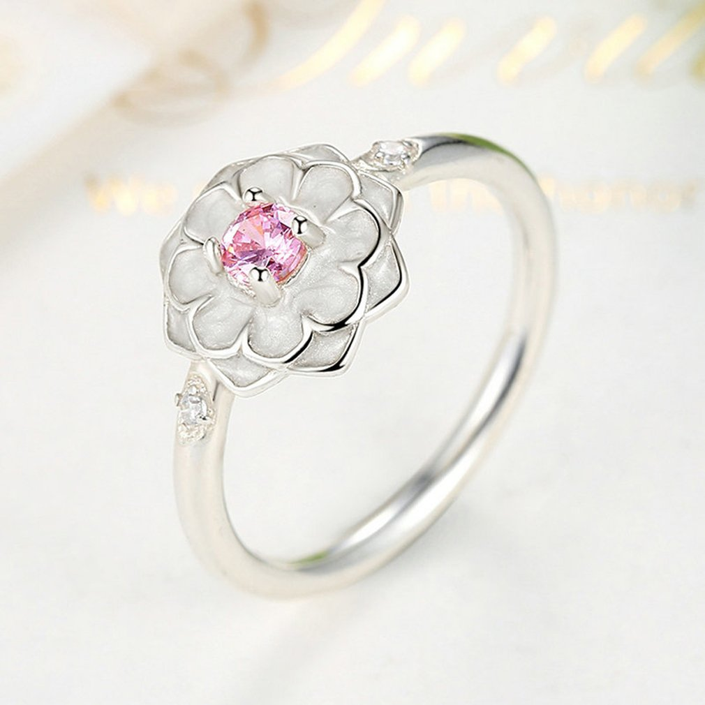 Everbling Blooming Dahlia 925 Sterling Silver Stackable Ring Enamel /& Blush Pink CZ