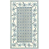 """Safavieh Chelsea Collection HK724A Hand-Hooked Blue and Ivory Wool Area Rug, 3 feet 9 inches by 5 feet 9 inches (3'9"""" x 5'9"""")"""