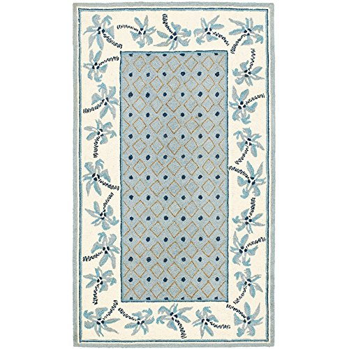 Safavieh Chelsea Collection HK724A Hand-Hooked Blue and Ivory Premium Wool Area Rug (1'8