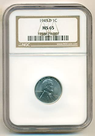 1943 D 1c Lincoln Steel Wheat Cent NGC MS 66