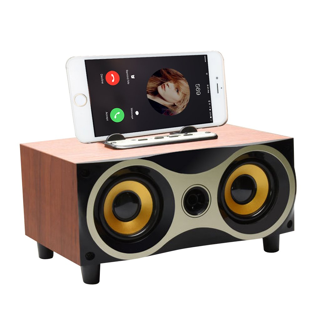 Desktop Portable Wooden Wireless Bluetooth Surround Sound Speaker Systems Support TF MP3 Player with FM Radio, Phone Holder for iPhone Android