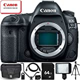 Canon EOS 5D Mark IV DSLR Camera (Body Only) - 8PC Accessory Bundle Includes 64GB SD Memory Card + 72 Full-Size Tripod + Flash Bracket + Professional 160 LED Video Light + MORE