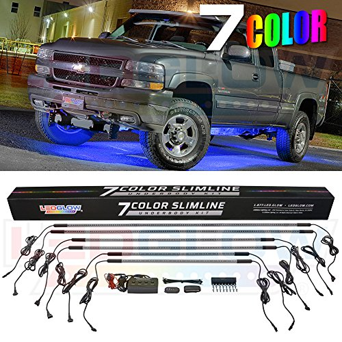 (LEDGlow 6pc Multi-Color Truck Slimline LED Underbody Underglow Accent Neon Lighting Kit - 7 Solid Colors - 18 Unique Patterns - Music Mode - Water Resistant Tubes - Includes Control Box & Remote)