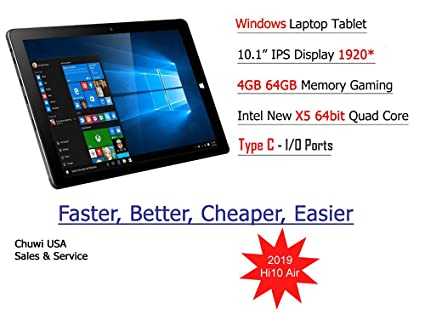 ChuwiUSA HI10 Air Tablet,10 1 inch Intel Cherry Trail X5 Tablet PC,  4GB+64GB Windows 10 OS, WiFi, BT4 0,2K Resolution Screen Tablet PC