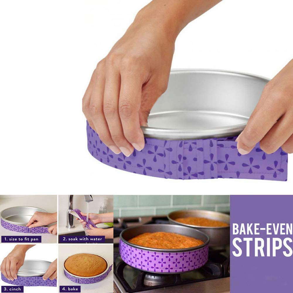 1/2pc Practical Cake Pan Strips Bake Even Strip Belt Bake Even Moist Level Cake Baking Tool (Purple, 1pc) Armilum