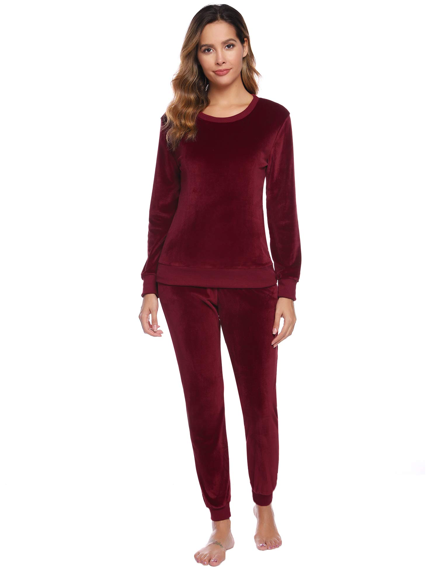 Abollria Women's Solid Velour Sweatsuit Set Sport Suits Tracksuits Wine Red by Abollria