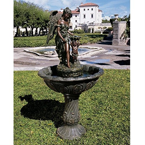 Water Fountain - Nearly 4 Foot Tall Heavenly Moments Angel Garden Decor Fountain - Outdoor Water Feature