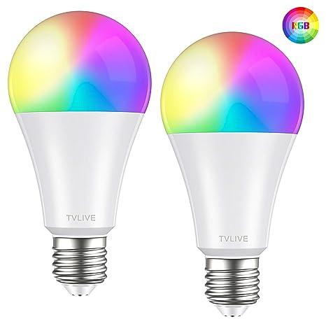 Bombilla LED Inteligente WiFi, TVLIVE 2 Pack 10W E27 Bombilla LED Luces Cálidas/Frías & RGB, Lámpara WiFi Funciona con Alexa (Echo, Echo Dot) Google ...