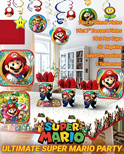 Ultimate Super Mario Party!!!Birthday Party Decoration Supplies Bundle Pack with 16lg&16sm Plates 16-9oz Cups, Matching Table Cover&Hanging Swirl Pack,50 Napkins(Bonus Matching Party Straw (Mario And Luigi Hats For Sale)