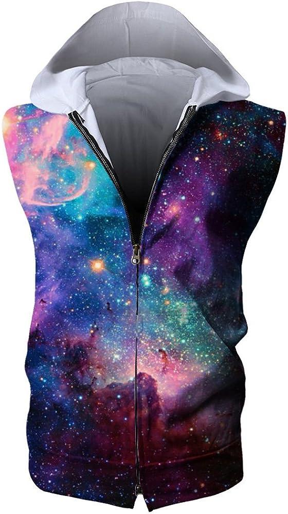 YueLian Mens Stars 3D Jackets Sleeveless Hooded Zip-up Jogging Outerwear