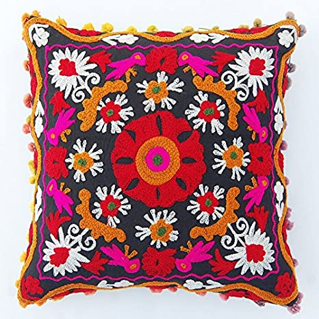 Uzbek Handmade Suzani Silk on Cotton Pillow Suzani embroidery suzani pillowcase suzani cushions decorative pillow Embroidery
