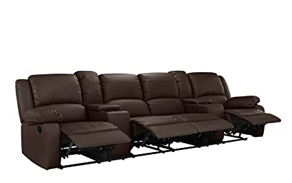 Amazon.com: 4 Seat Large Classic Recliner Sofa with Cup Holders ...
