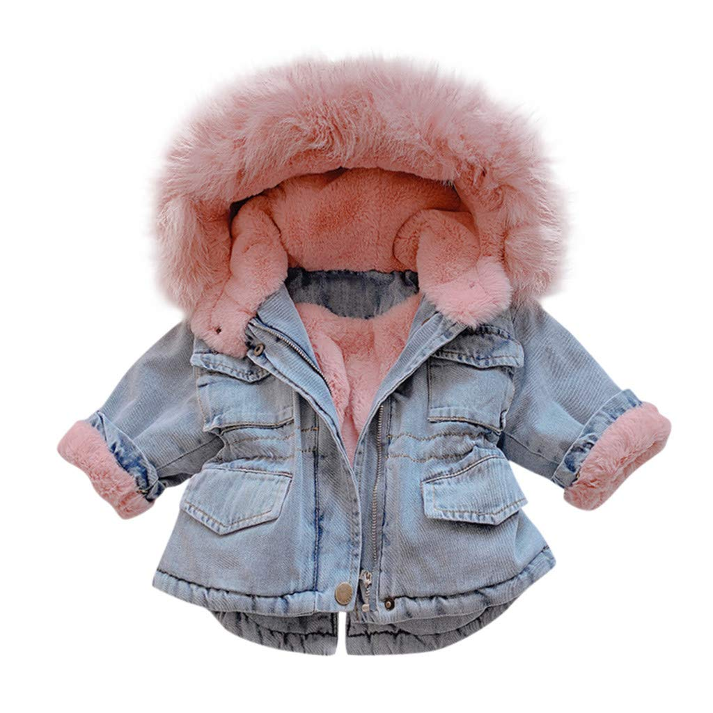 Pollyhb Infant Coat Costume Kids Baby Girls Fashion Hooded Faux Fur Fleece Warm Thick Denim Outerwear Snowsuit by Pollyhb