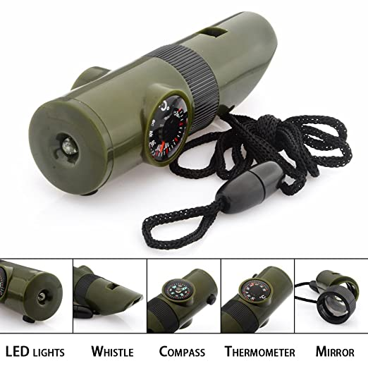 7 in 1 Emergency Survival Whistle Multi function Tool, Magnifier, Flashlight, Storage Container, Compass, Thermometer, Signaling Mirror, Great for Camping, Hiking, Hunting, Fishing, Outdoor Activities, Travel, Emergency and Survival kits, Color Army Gree