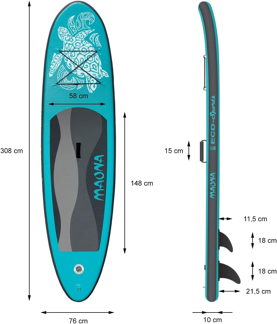 ECD Germany Tabla Hinchable Maona Paddle Surf/Sup 308 x 76 x 10 cm Turquesa