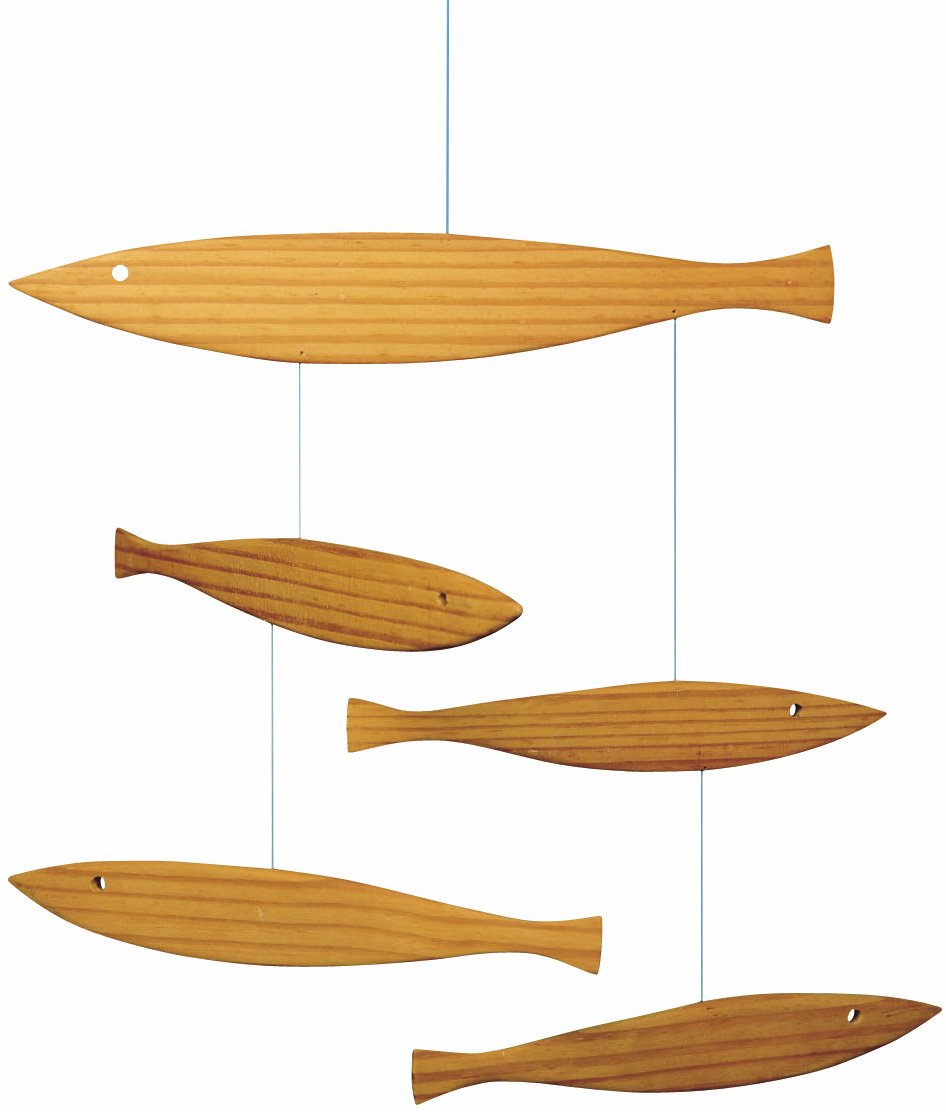 Flensted Mobiles Floating Fish Hanging Mobile - 16 Inches Pine f116