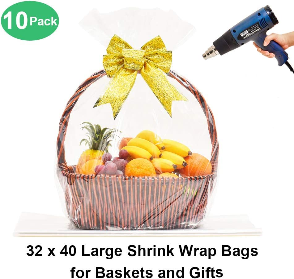 2 Pack Red Plastic Wrap Gift Basket Bags in Large 24 x 30 in Size Great Deal!