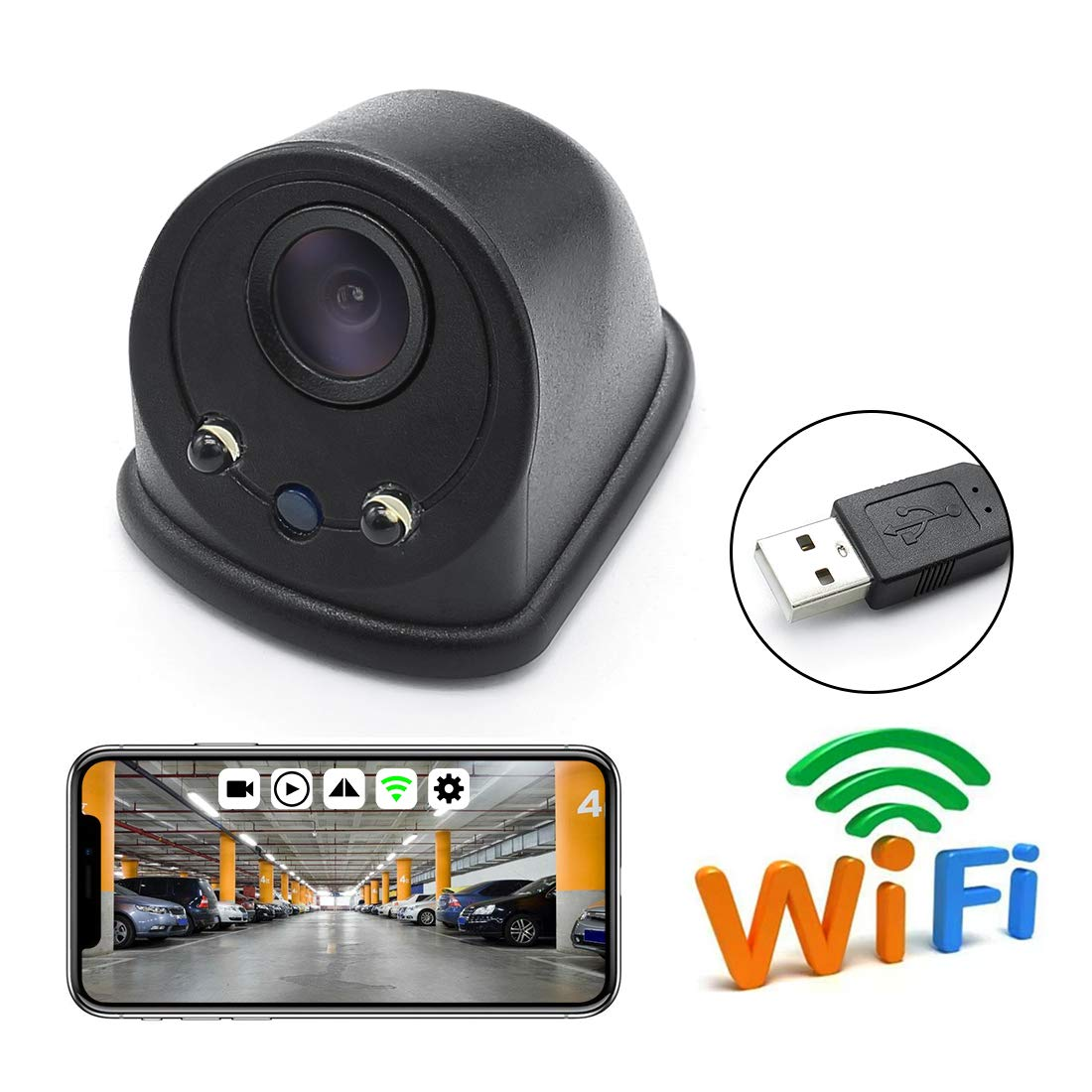 Amazon.com: GreenYi Wireless Blind Spot Camera, WiFi Car USB ...