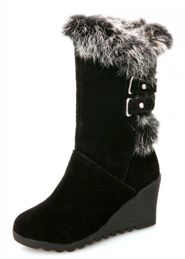 IDIFU Women's Comfy Buckled Faux Fur Lined Wedge Mid Calf Snow Boots Winter Booties Medium Heels Black 6 B(M) US
