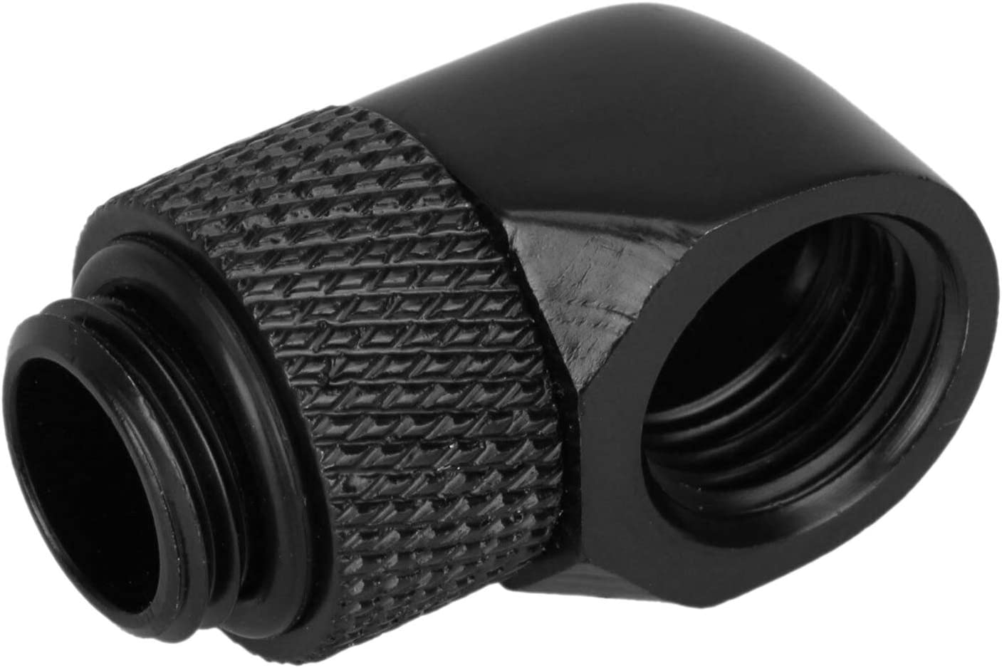 Luntus 12.9Mm G1//4 Thread 90 Degree Rotary Tube Fitting for Pc Water Cooling Black