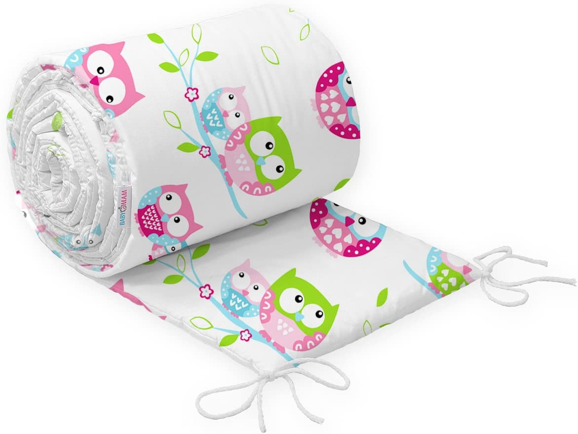 Baby Infant Padded Bumper for Cot 120x60 Straight 180 cm 100/% Cotton 8. Owls Cream II