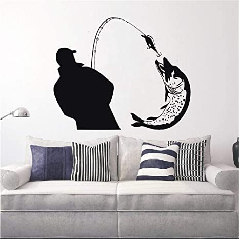 Pescador que atrapa una enorme silueta de peces calcomanías ...