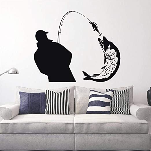 Pescador capturando una enorme silueta de pescado Tatuajes de ...
