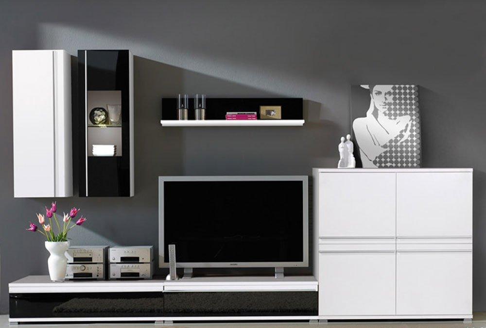 6-tlg. Wohnwand in weiß mit Abs. in Schwarzglas, Hängeschrank, Hängevitrine, Wandregal, 2 TV-Unterschränke, 1 Kommode, Mindestmaß: B/T ca. 294/54 cm