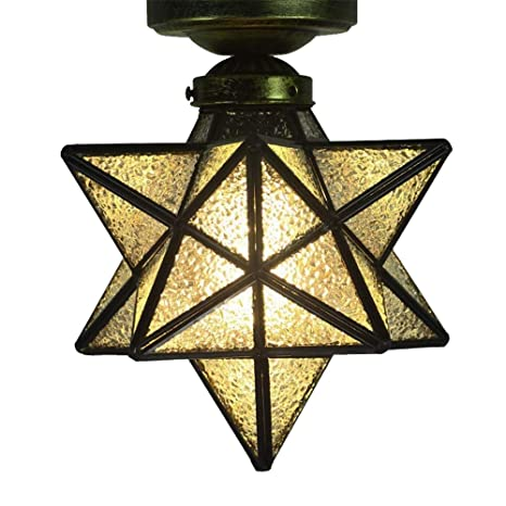 Crystal Flush Mount Moravian Star Ceiling Light Shade With E26 Bulb 8 Close To Ceiling Light Fixtures For Indoor Restaurant Cafe Loft Bar Living