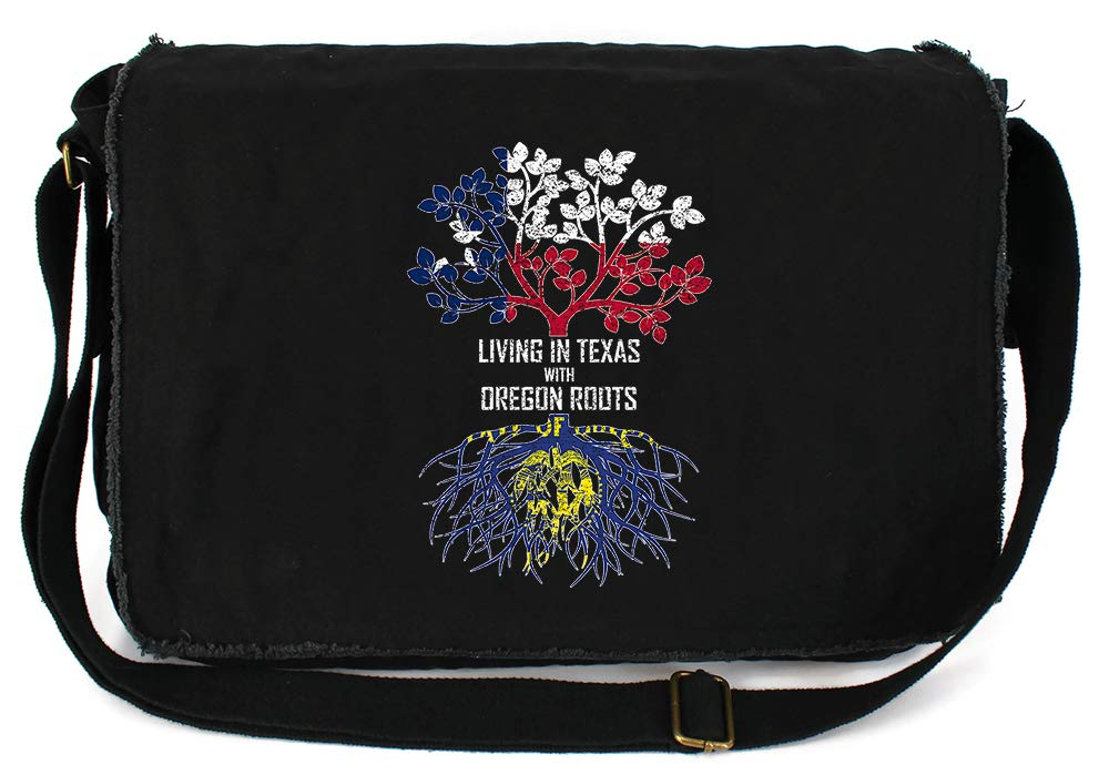 Tenacitee Living In Texas with Oregon Roots Grey Brushed Canvas Messenger Bag