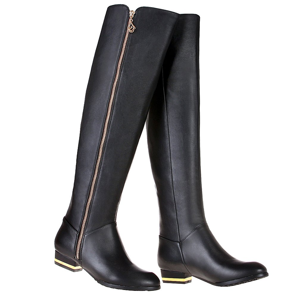 rismart Women's Zip Fashion Over The Knee High Leather Riding Boots