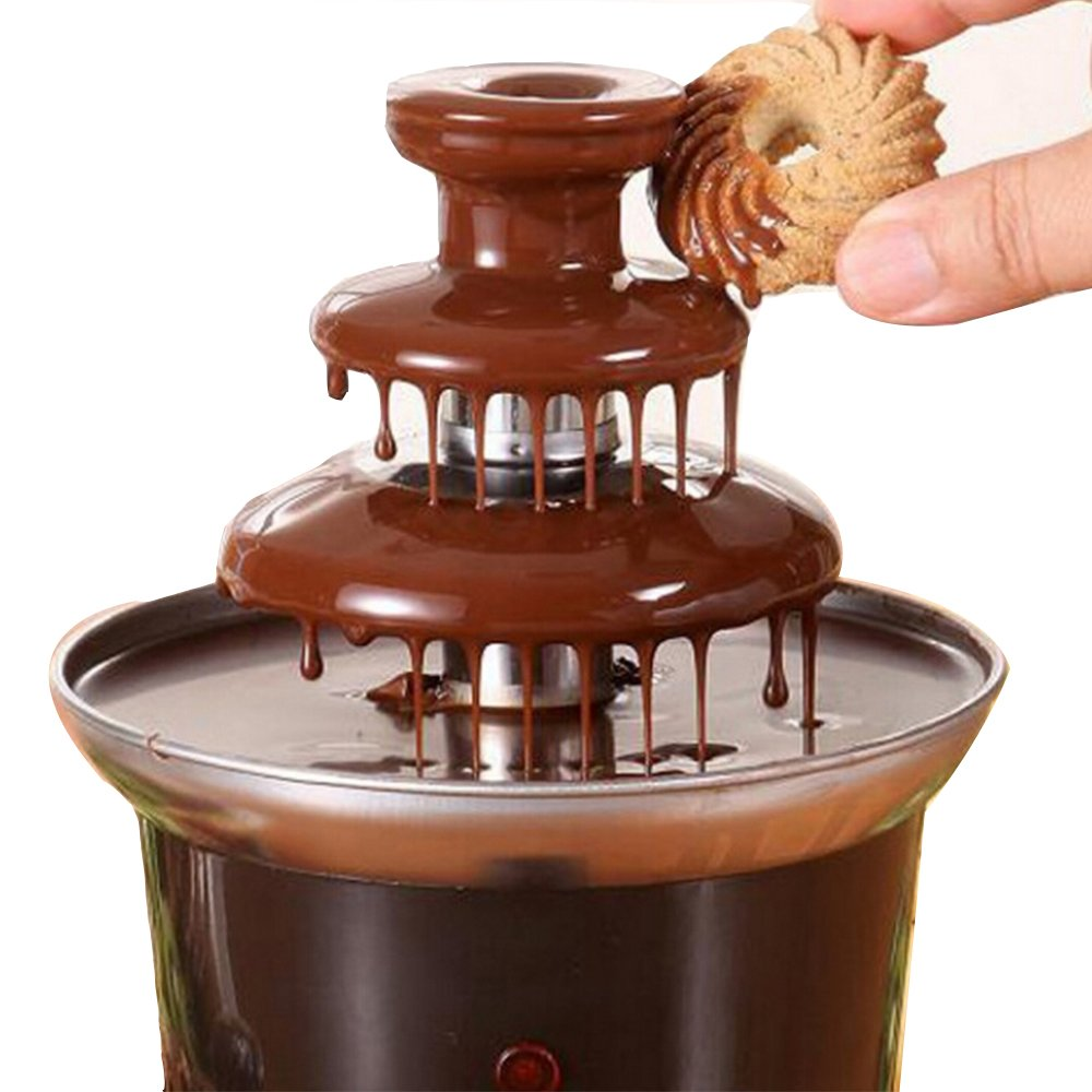 220V Chocolate Fountain Machine Fondue Maker Heated 3-Tier Home Household DH-Link