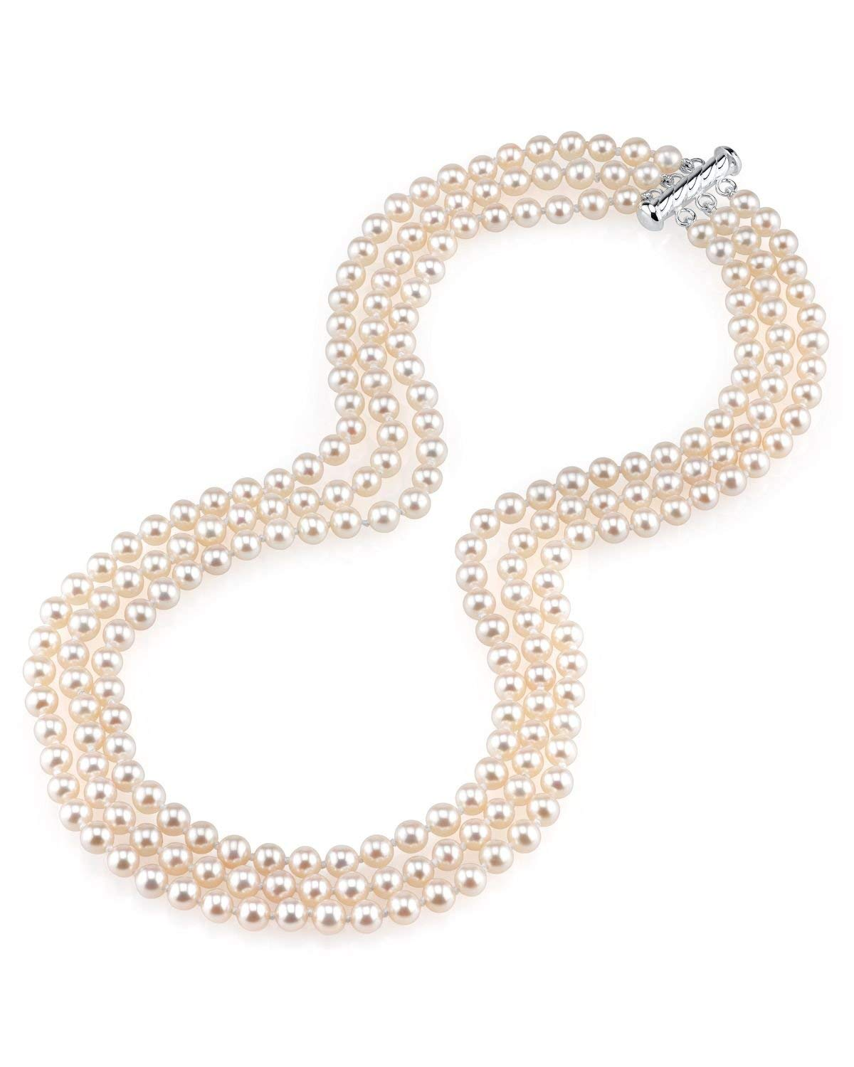 THE PEARL SOURCE 5.0-5.5mm AAAA Quality Triple Strand White Freshwater Cultured Pearl Necklace for Women in 16-17-18'' Princess Length