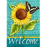 "Sunflower Welcome Summer Garden Flag Butterfly Floral 12.5"" x 18"""